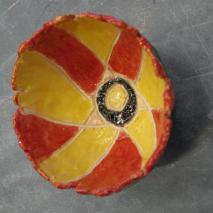 red and yellow bowl
